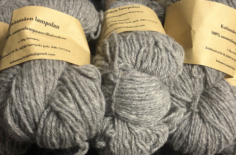 100% Finnsheep woolen yarn Light Grey