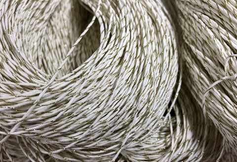Paper yarn with blingbling gold