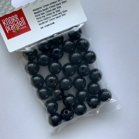Mustat puuhelmet 12mm
