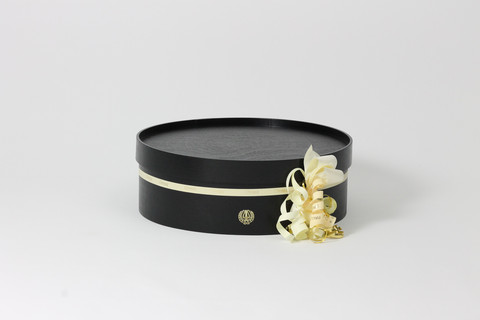 Graduation cap box with lyre, Black