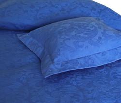 Pyöreä helmalakana/laskos jacquard sininen