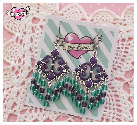 Helmikorvakorut, violetti/vedenvihreä