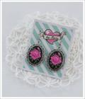 Cameo-korvakorut Ruusu, pinkki/musta/antiikkihopea