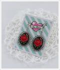 Cameo-korvakorut Ruusu, punainen/musta/antiikkihopea