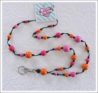 Avainkaulanauha, pinkki/oranssi/musta