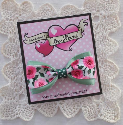 Rusettipinni Ruusunen, pinkki/vaaleanvihreä
