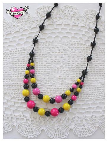 Tuplapuuhelmet, pinkki/keltainen/musta