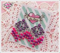 Helmikorvakorut, violetti/pinkki