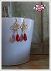 Sisko-helmikorvakorut, kulta/punainen