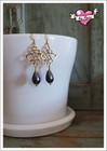 Sisko-helmikorvakorut, kulta/tumma farkunsininen