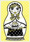 Maatuska Herkkusuu -postikortti, keltainen