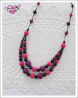 Tuplapuuhelmet, violetti/pinkki/musta