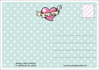 Maatuskaperhe -postikortti, sinivihreä
