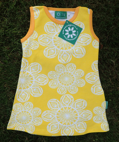 Lace yellow, Sleeveless dress, Strech college