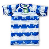 Striped Stars Blue Short sleeve shirt. Jersey, organic cotton