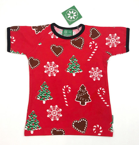 Xmas, Short sleeve shirt. Jersey, organic cotton