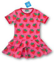Strawberry Frill dress, jersey organic cotton
