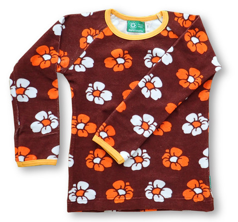 Retro flowers, long sleeve shirt, stretch frotte