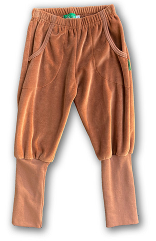 Pants brown, long rib, Velour