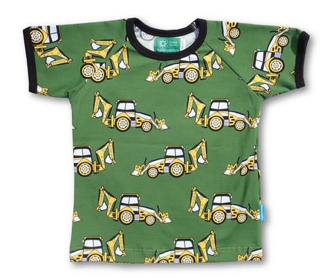 Backhoe tractor, short sleeve shirt. Jersey, organic cotton
