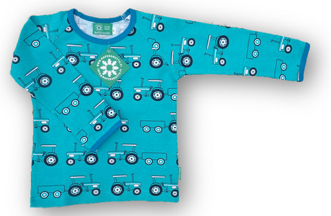 Tractors, turquoise, long sleeve shirt. Jersey, organic cotton