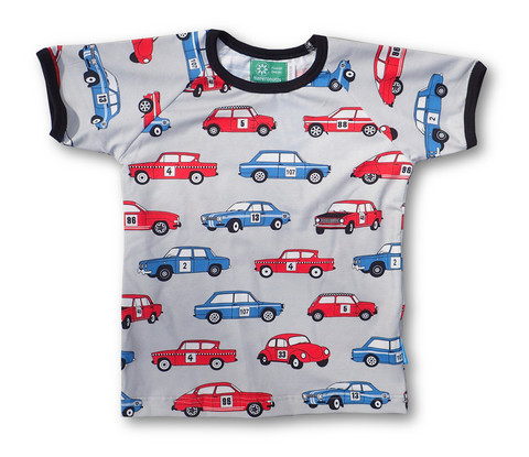 Rally cars. Short sleeve shirt. Jersey, organic cotton