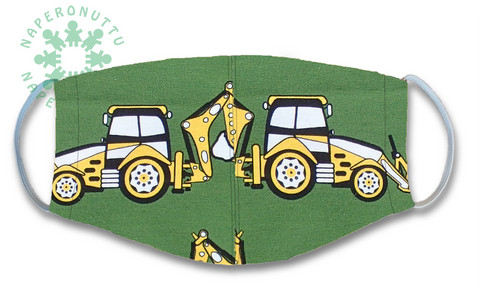 Face mask. Backhoe tractor. Jersey, orcanic cotton