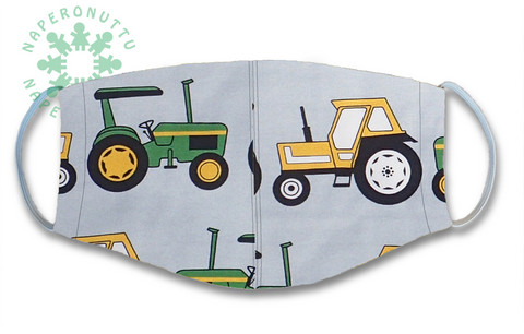 Face mask. Tractors. Jersey, orcanic cotton