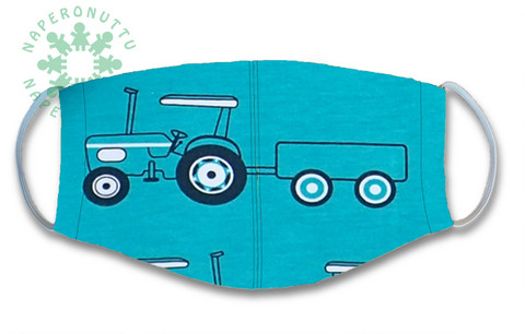 Face mask.  Tractors, turquoise. Jersey, orcanic cotton