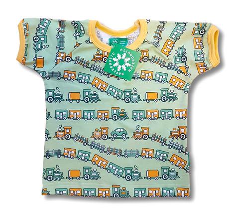 Train, short sleeve shirt. Jersey, organic cotton