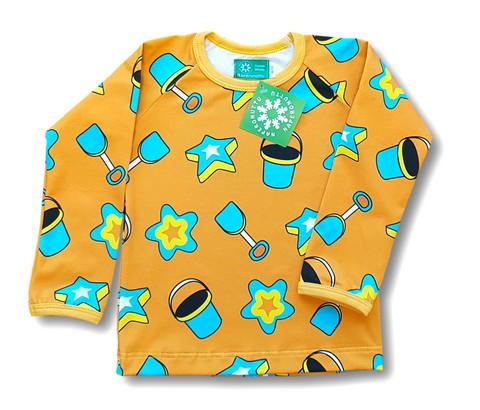 Peach, long sleeve shirt. Jersey, organic cotton