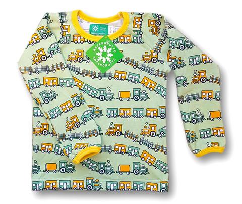 Train, long sleeve shirt. Jersey, organic cotton
