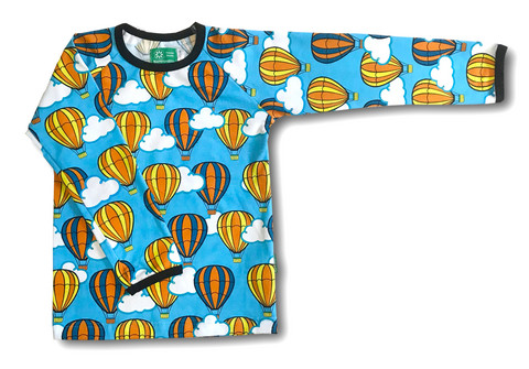 Hot airballoons, long sleeve shirt. Jersey, organic cotton