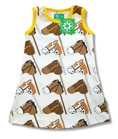 Hobby horses. Sleeveless dress. Jersey, organic cotton