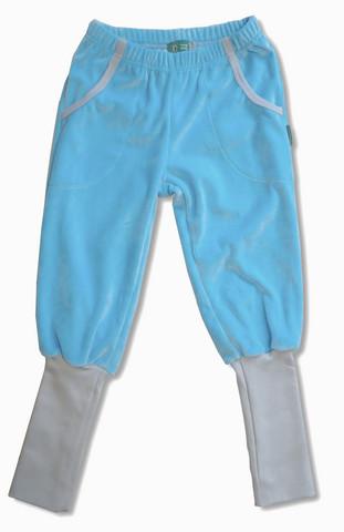 Velour pants. Light blue, gray ribs. Long rib. Velour, organic cotton