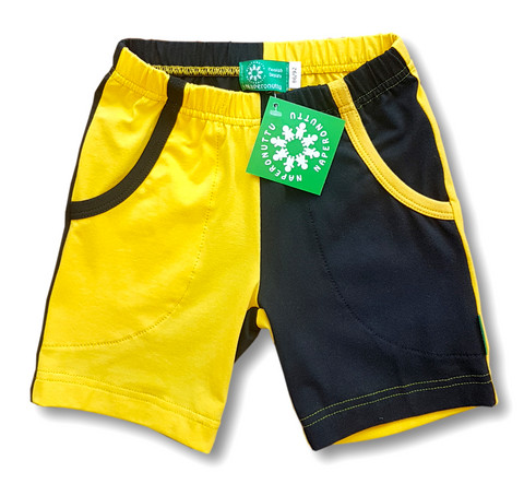 Shorts, two colors black/yellow. Jersey, luomupuuvillaa