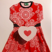 Lace red, Frill dress. Jersey, organic cotton