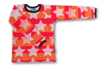 Star stribes red, long sleeve shirt,. Stretch college (French terry), organic cotton