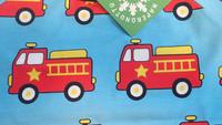 Fire truck, short sleeve shirt. Jersey, organic cotton