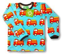 Fire truck, long sleeve shirt. Jersey, organic cotton