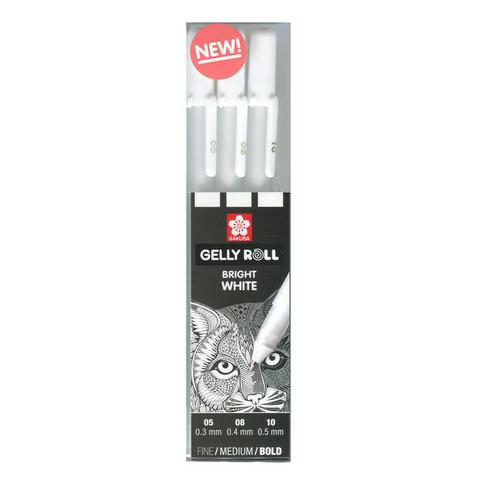 Gelly roll valkoinen peittävä geelikynä 3kpl erikokoisia kyniä