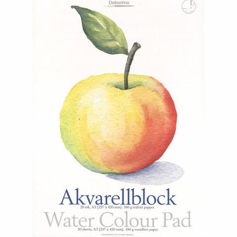 Dekorima Akvarellilehtiö A3 180g/m2 - 20 arkkia