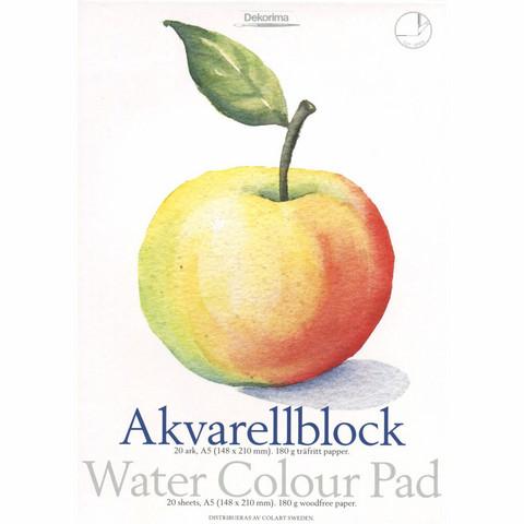 Dekorima Akvarellilehtiö A5 180g/m2 - 20 arkkia