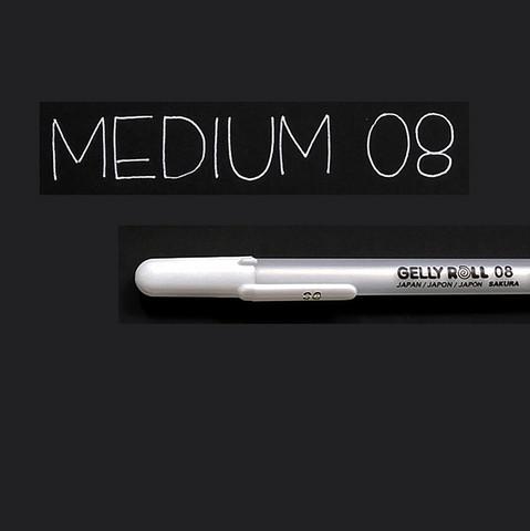 Gelly Roll valkoinen geelikynä 0,4mm Medium 08