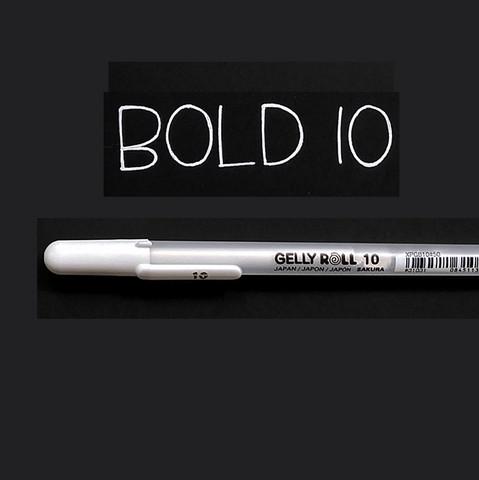 Gelly Roll valkoinen geelikynä 0,5mm Bold 10