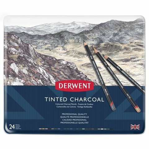 Derwent Tinted Charcoal 24 värillistä hiilikynää
