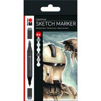 Marabu Graphix Sketch 6 Alpha robot grey tones
