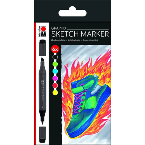 Marabu Graphix Sketch 6 Heat basic shades