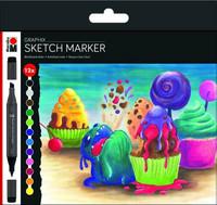 Marabu Graphix Sketch 12 Sugarholic vibrant shades