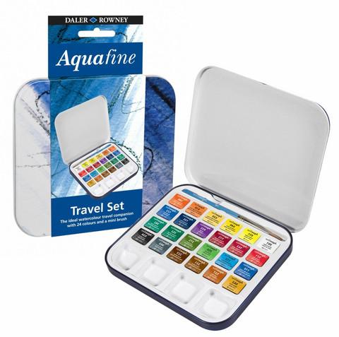 Aquafine Travel tin vesivärisetti 24 nappia